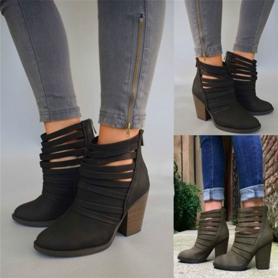320386bf7fef 2018 Spring Women s Short Boots Hollow Out High-heeled Ankle Booties ...