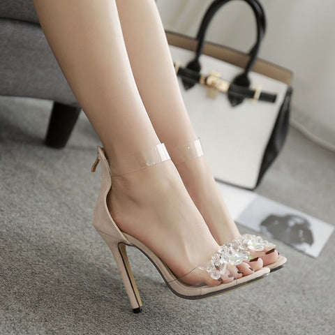 Image of Summer female sandals diamond thin heels buckles Roman peep-toe shoes color matching pair