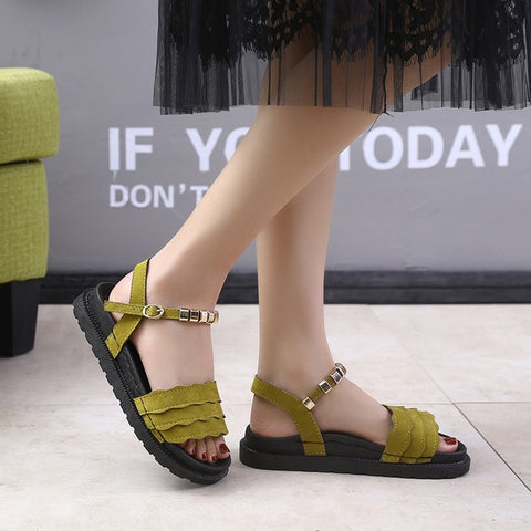 Image of Mature Leisure Summer Gladiator Women Sandals  Gladiator  Retro Women Shoes Cover Heel Flat Rome Sandals