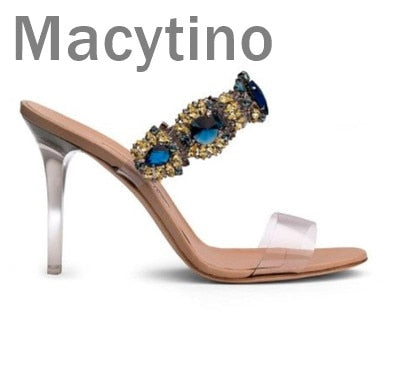 Macytino Latest Design Rhinestone PVC Transparent Stiletto Sandals Shoes Crystal Ankle Wrap Lady High Heels Shoes