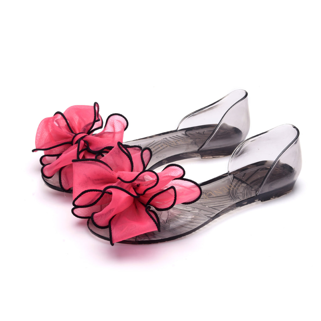 Summer big flower jelly transparent sole shoes flat-bottomed sandals fish mouth shoes beach shoes crystal candy fashion shoes