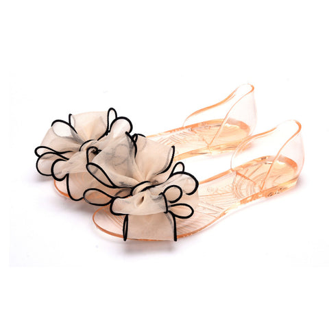 Image of Summer big flower jelly transparent sole shoes flat-bottomed sandals fish mouth shoes beach shoes crystal candy fashion shoes