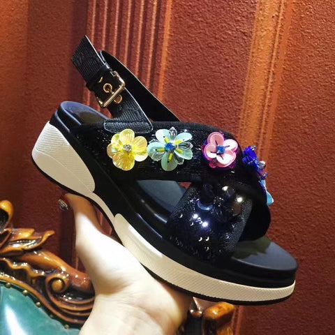 Image of Newest handwork design Rhinestone Wedge Women Sandals Summer Vintage Beach flats slippers 6 cm creepers platform shoes women