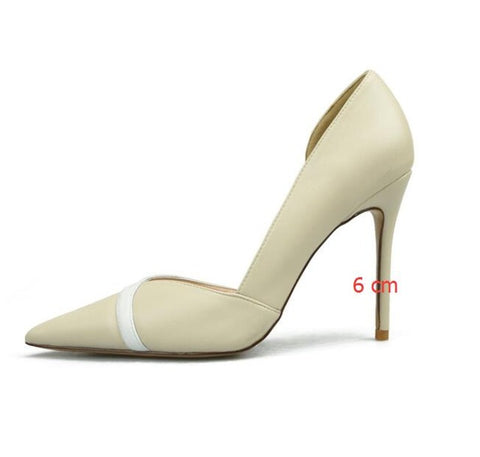 Image of Sexy Side Cut-Outs Women's Office Shoes New Fashion Shallow Women Pumps Splice Leather Pointed Toe High Heels Shoes for Women