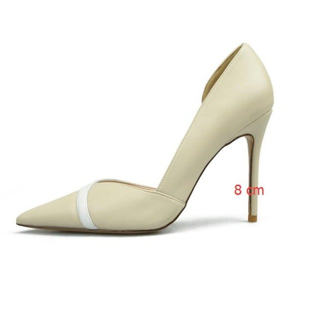 Sexy Side Cut-Outs Women's Office Shoes New Fashion Shallow Women Pumps Splice Leather Pointed Toe High Heels Shoes for Women