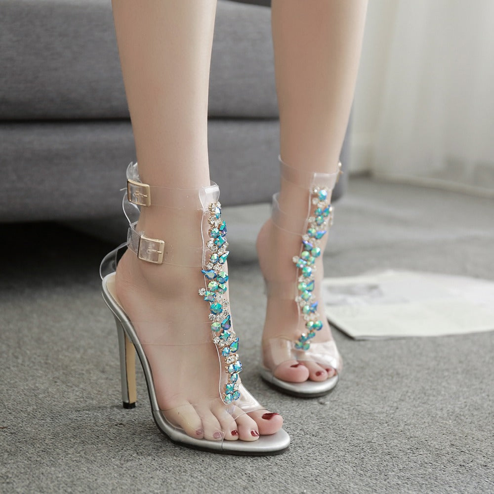 Transparent heels for ladies women shoes high heels sandals PVC Crystal sandals pumps shoes rhinestones gladiator sandals women
