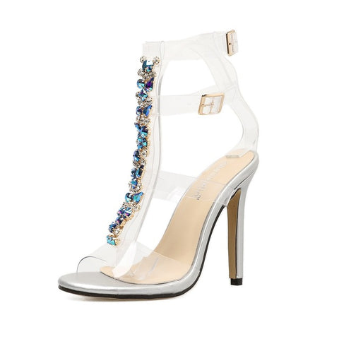 Image of Transparent heels for ladies women shoes high heels sandals PVC Crystal sandals pumps shoes rhinestones gladiator sandals women
