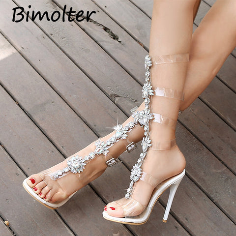 Image of Bimolter Summer Women Rhinestone Diamond Crystal Chain Transparent PVC High Heel OpenToe T-strap Sexy Gladiator Sandals PSEB023