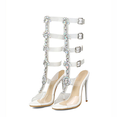 Bimolter Summer Women Rhinestone Diamond Crystal Chain Transparent PVC High Heel OpenToe T-strap Sexy Gladiator Sandals PSEB023