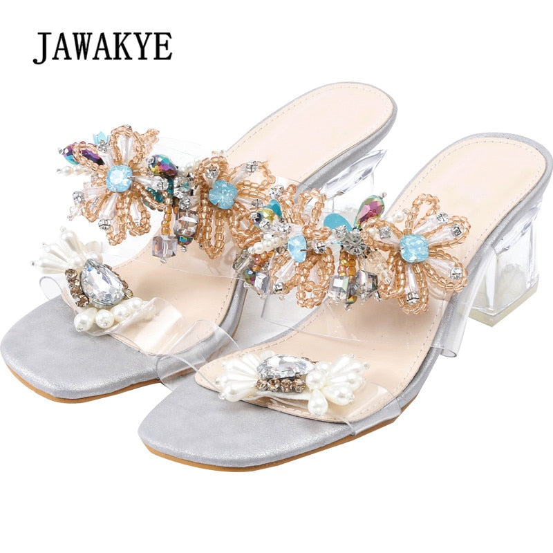 2018 Crystal Gladiator Sandals Woman Peep Toe Colorful Rhinestone Diamond Flower Clear Heels Transparent Shoes Women
