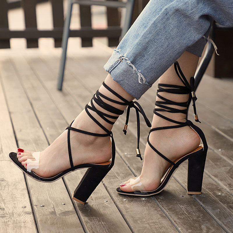 Women PVC Jelly Sandals Crystal Open Toe High Heels Clear Shoes Ladies Transparent  Platform Lace up Sandals sapato feminino