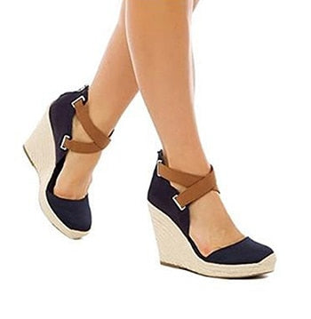 Image of Summer Women Wedges Sandals Woman Gladiator Black High Heels Shoes Ladies Big Size Beach Rome Platform Sandals sapatos feminino