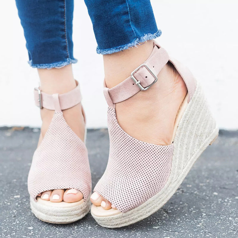 2018 Summer Women Wedge Heels Sandals Woman Gladiator Peep Toe Shoes High Heels Beach Shoes Comfortable Rome Big Size Sandals