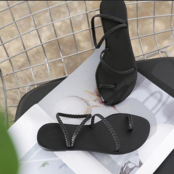 2018 Women Summer Beach Sandals Ladies Black Big Size Flat Heels Shoes Woman Casual Open Toe Sandalias zapatos mujer Dropship