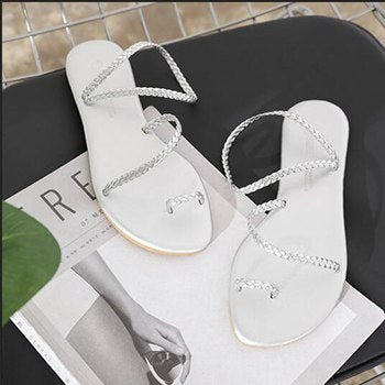 Image of 2018 Women Summer Beach Sandals Ladies Black Big Size Flat Heels Shoes Woman Casual Open Toe Sandalias zapatos mujer Dropship