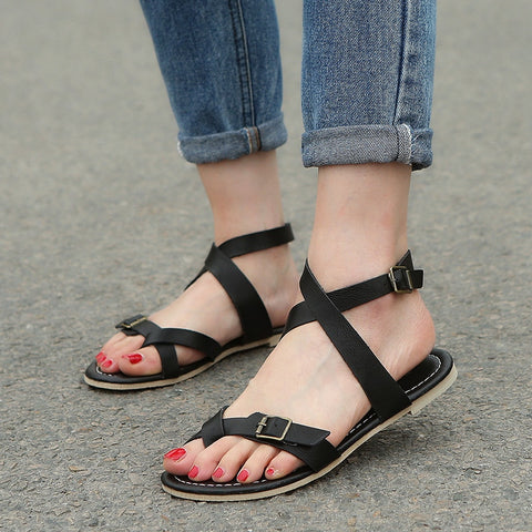 Image of 2018 New Big Size Women Black Roma Sandals Ladies Leather Gladiator Shoes Sexy Woman Summer Flat Heels Sandals zapatillas mujer