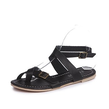 2018 New Big Size Women Black Roma Sandals Ladies Leather Gladiator Shoes Sexy Woman Summer Flat Heels Sandals zapatillas mujer