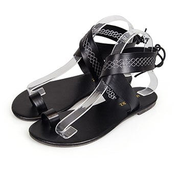 Image of Hot Big Size Summer Women Roma Lace up Sandals Leather Ankle Strap Shoes Ladies Black Flat Heels Gladiator sandalias mujer 2018