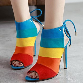 Image of 2018 New Women Summer High Heels Sandals Mixed Color Open Toe Strap Shoes Woman Sexy Party Wedding Footwear  Lace Up sandalias