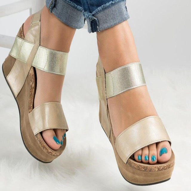 2018 Plus Size Summer Women Gladiator Sandals Leather Female Beach Shoes Woman Wedge Heels Platform Sandals sandalia feminina