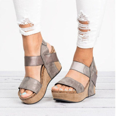 Image of 2018 Plus Size Summer Women Gladiator Sandals Leather Female Beach Shoes Woman Wedge Heels Platform Sandals sandalia feminina