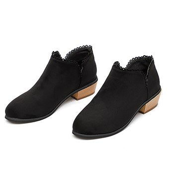 Botines Mujer 2018 Autumn Winter Ankle Boots for Women Slip-On Med High Heels Pointed Toe Platform Shoes Suede Leather Boots