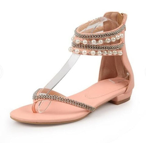 Image of Women Sandals Summer Flat 2018 New Student Women Shoes Ankle Wrap Rubber Sole Fashion Crystal Back Zip Beach Sandals Dress Shoes