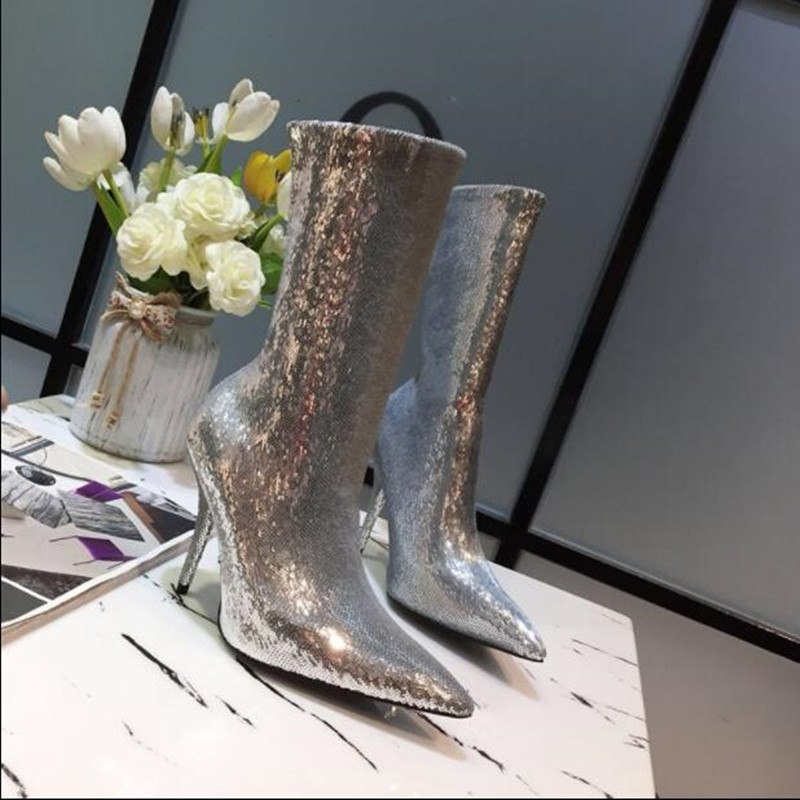 Sexy Bling Bling Crystal Runway Boots Pointy Toe Stiletto High Heels Women Slip on Sequined Boots Luxury Design Fabric Shoes