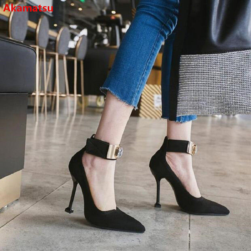 Sexy Pointed Toe Women Pumps Ankle Strap Suede Leather High Heels Shoes Hook&Loop Party Stilettos Shoes Zapatos Mujer Size 34-44