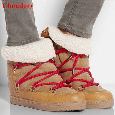 Image of Hot Fashion Height Increasing Warm Winter Fur Women Snow Boots Outfit Chic Lace Up Flat Ankle Booties Women Causal Booties Shoes