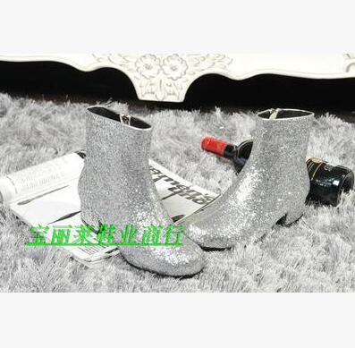 Glittering Ankle Boots Sparkly Leather Shinny Boots Shoes Woman High Heels T-stage Dance Shoes High Quality Big Size