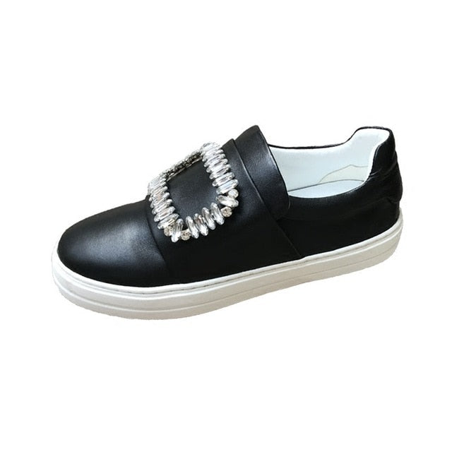 White Genuine Leather Flat Loafers Sneakers for Women Slip-on Comfy Dress Lace-up Bandage Footwear Shoes