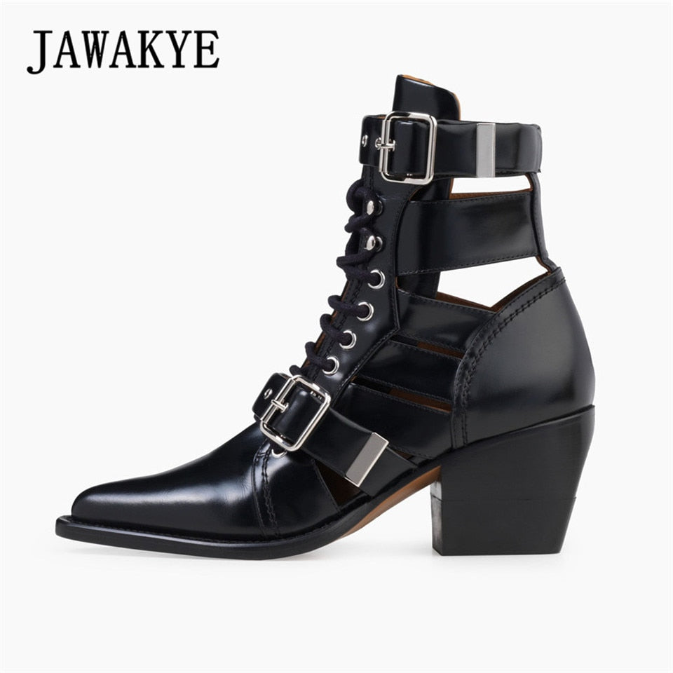 New Cut Outs Buckle Ankle Boots for Women Chunky High heels Point toe Martin Shoes Women Leather Gladiator Short bota feminina