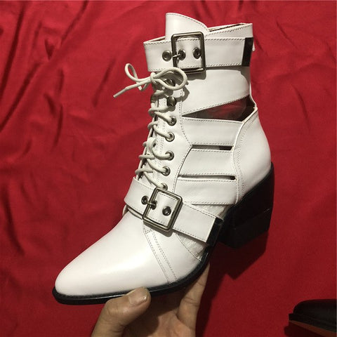 Image of New Cut Outs Buckle Ankle Boots for Women Chunky High heels Point toe Martin Shoes Women Leather Gladiator Short bota feminina
