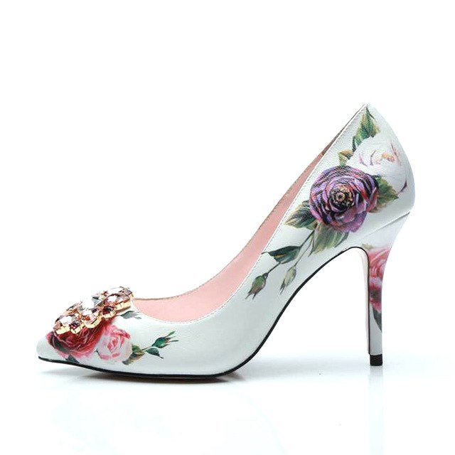 JAWAKYE Sexy Sheepskin printed flowers high heels Shoes Women Pumps Pointed Toe rhinestone flower 10 CM heel ladies Party Shoes
