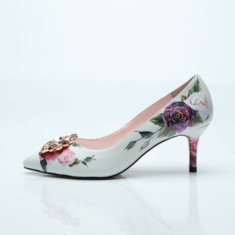 Image of JAWAKYE Sexy Sheepskin printed flowers high heels Shoes Women Pumps Pointed Toe rhinestone flower 10 CM heel ladies Party Shoes