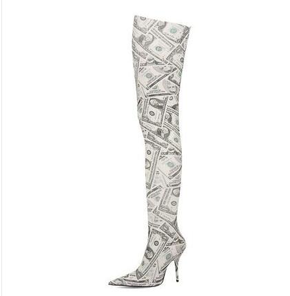 Sock Boots Women Dollar Money Printing Stretch Thigh High Boots Elastic Mid-calf Short Boots Pointed Toe High Heel Shoes Lady