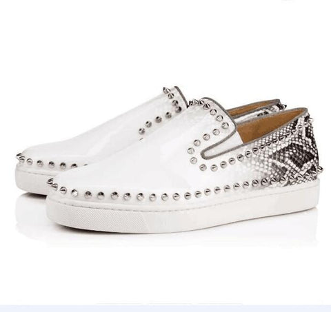 Image of Luxury Men Shoes White Snake Print Leather Loafers Round Toe Rubber Sole Loafers Moccasins Shoes Low Hop Shoes Big Sizes Men