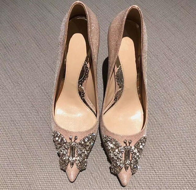 Elegant Pink Silver Leather High Heel Pumps Pointed Toe Crystal Butterfly-knot Wedding Shoes Bride Slip-on Heels Lady Dress Shoe