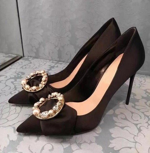 Women Stiletto Heels Black Silk Satin Office Womens Shoes Pointed Toe Pearl Crystal Round Buckle High Heel Pumps Drop Shipping