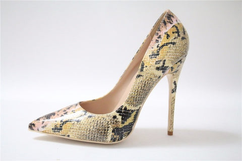 Image of Sexy High Heel Shoes White Snake Print Leather Stilettos Shoes For Women Pointed Toe Slip-on Leather Dress Pumps Shoes