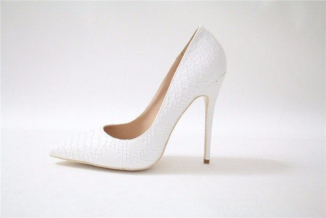 Sexy High Heel Shoes White Snake Print Leather Stilettos Shoes For Women Pointed Toe Slip-on Leather Dress Pumps Shoes