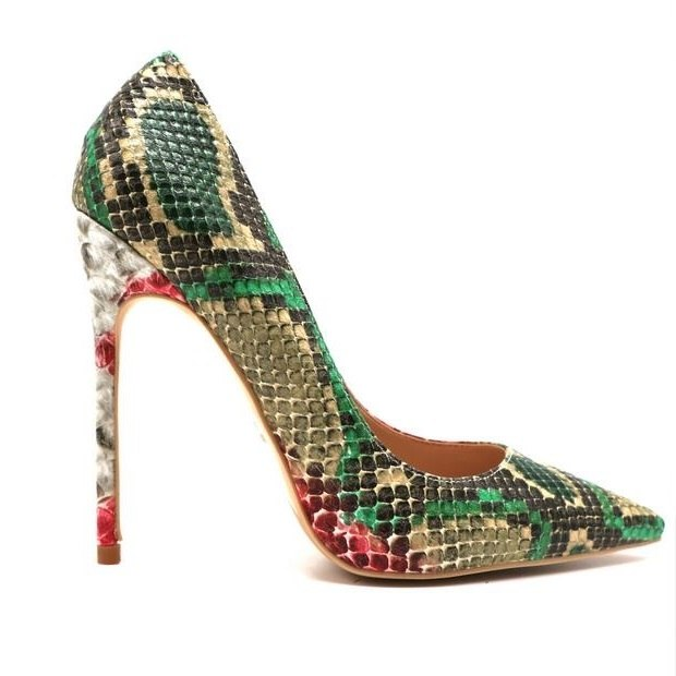 Sexy Red Snake Print Leather Stilettos Shoes for Women 12CM Pointed Toe Stiletto Heels Dress Shoes Slip-on Pumps Heels Woman