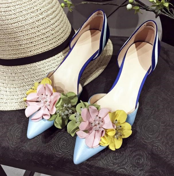 Shoes Woman Pointed Toe Flower Decor Sweet Style Chic Lady Shoes Vacation Zapatos Mujer Med Heel Mixed Color Party Runway Shoes
