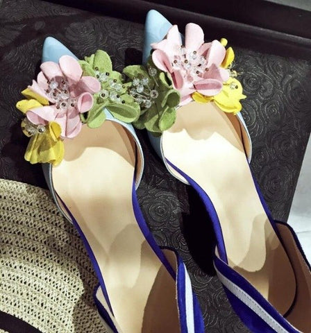 Image of Shoes Woman Pointed Toe Flower Decor Sweet Style Chic Lady Shoes Vacation Zapatos Mujer Med Heel Mixed Color Party Runway Shoes