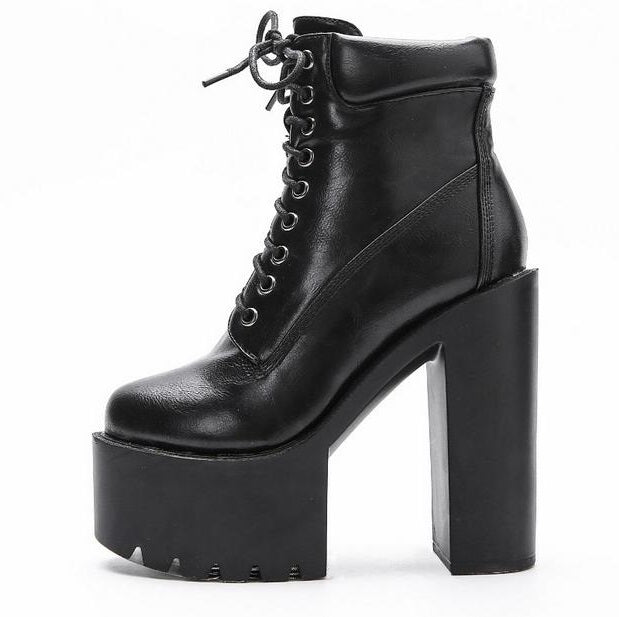 Punk Style Women Boots Winter Square Heels High Platform Lace-up Ankle Bootie Round Toe Thick Rubber Sole Motorcycle Boots