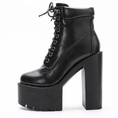 Image of Punk Style Women Boots Winter Square Heels High Platform Lace-up Ankle Bootie Round Toe Thick Rubber Sole Motorcycle Boots
