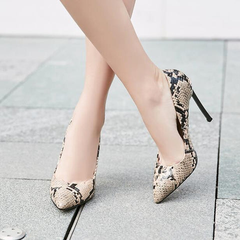 Image of Stylish Red Snake Print Leather Blade Heels Pumps Pointed Toe Metal Heels Dress Shoes High Quality Slip-on Patchwork Pumps