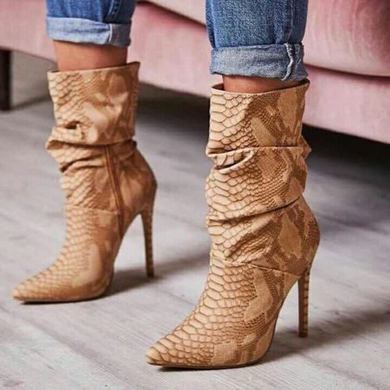 6d9bf3e353e8 ... Snakeskin Print High Heels Ankle Boots Ladies Pointed Toe Pleated  Winter Boots. Hover to zoom