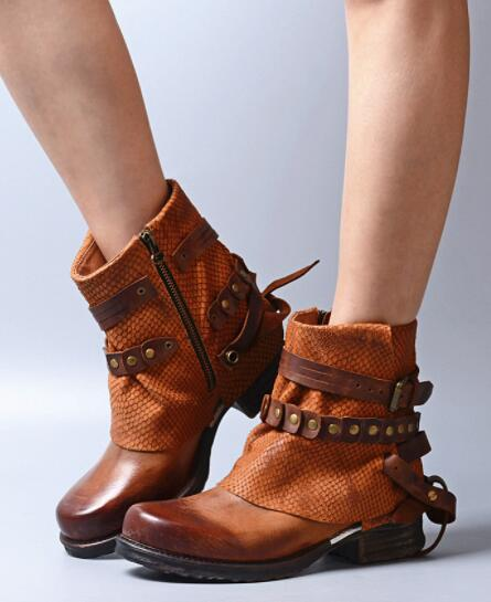 Sestito 2018 Women Genuine Leather Ankle Boots Female Round Toe Rivets Short Vintage Boots Girls Ankle Strap Square Heels Shoes
